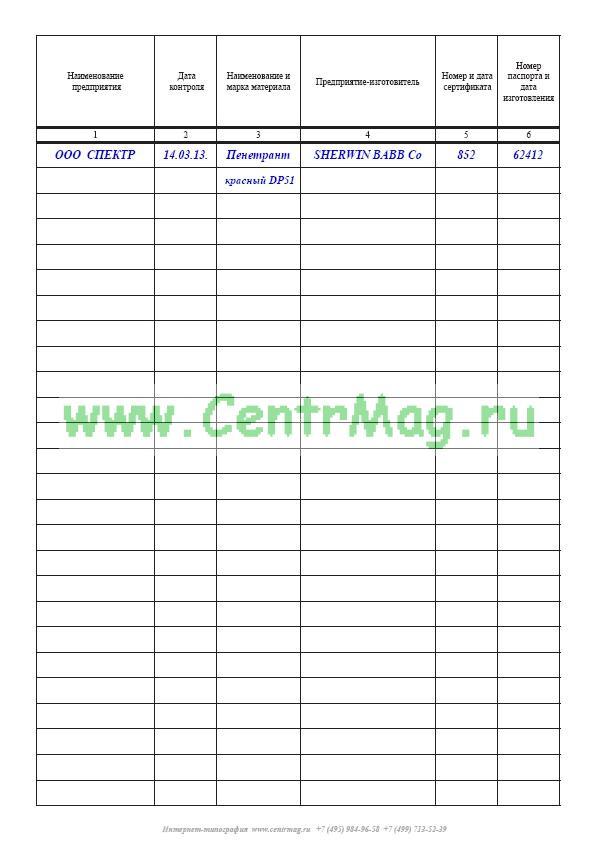 Журнал входного контроля материалов образец заполнения рд-11-05-2007