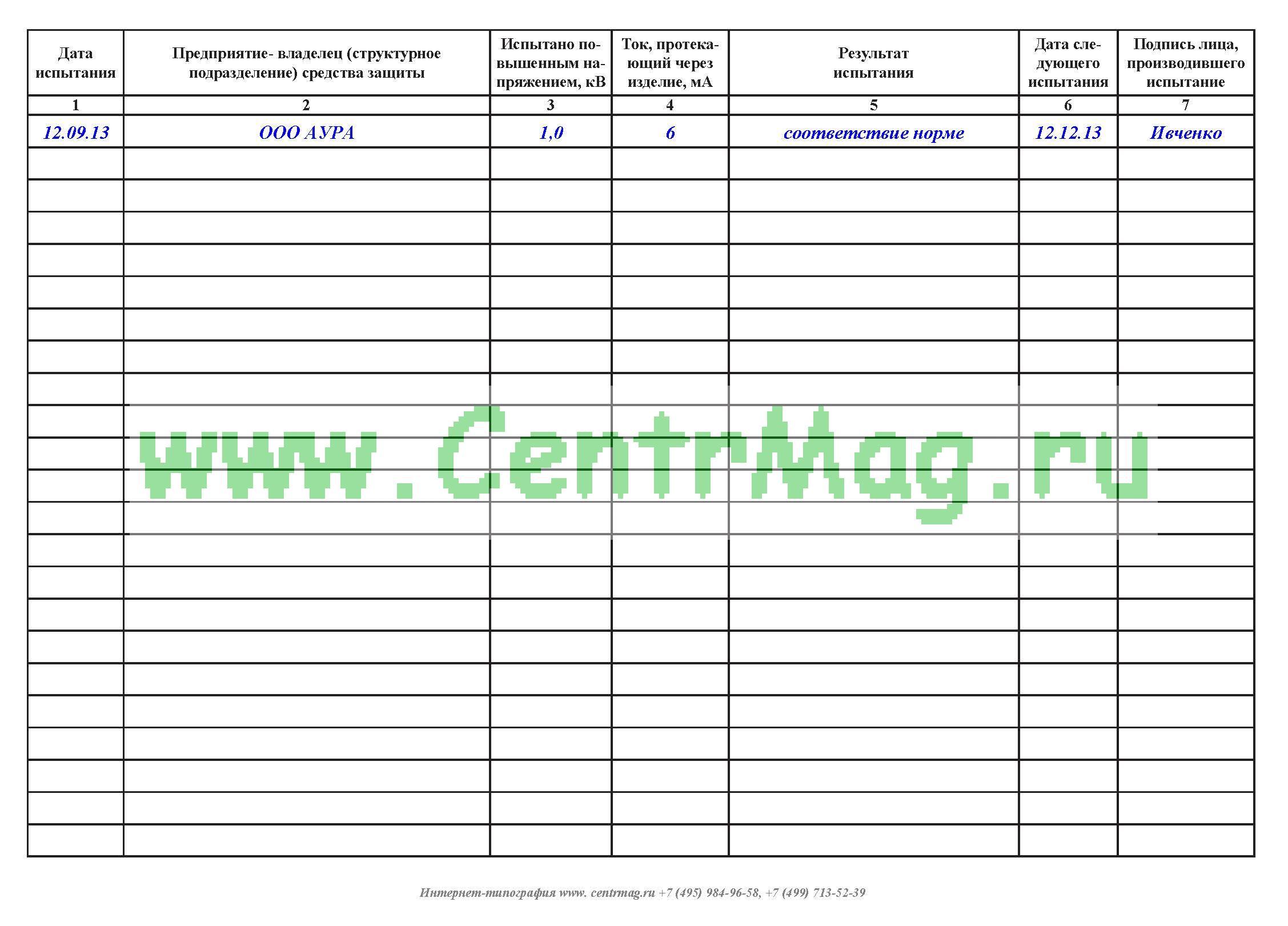 Журнал испытаний средств защиты из диэлектрической резины и.