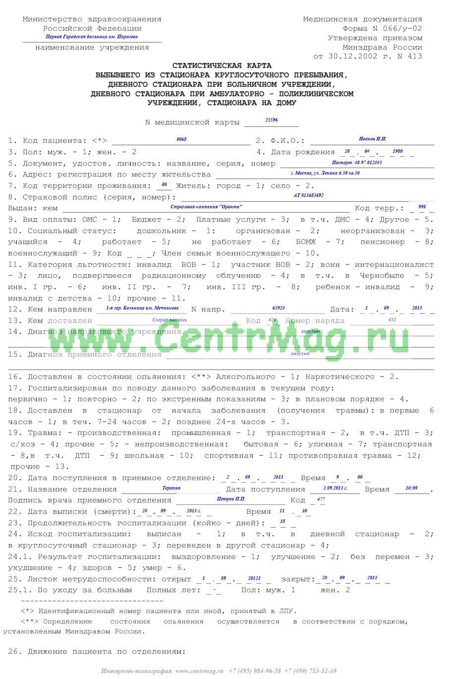 карта больного дневного стационара форма no 003-2у-88
