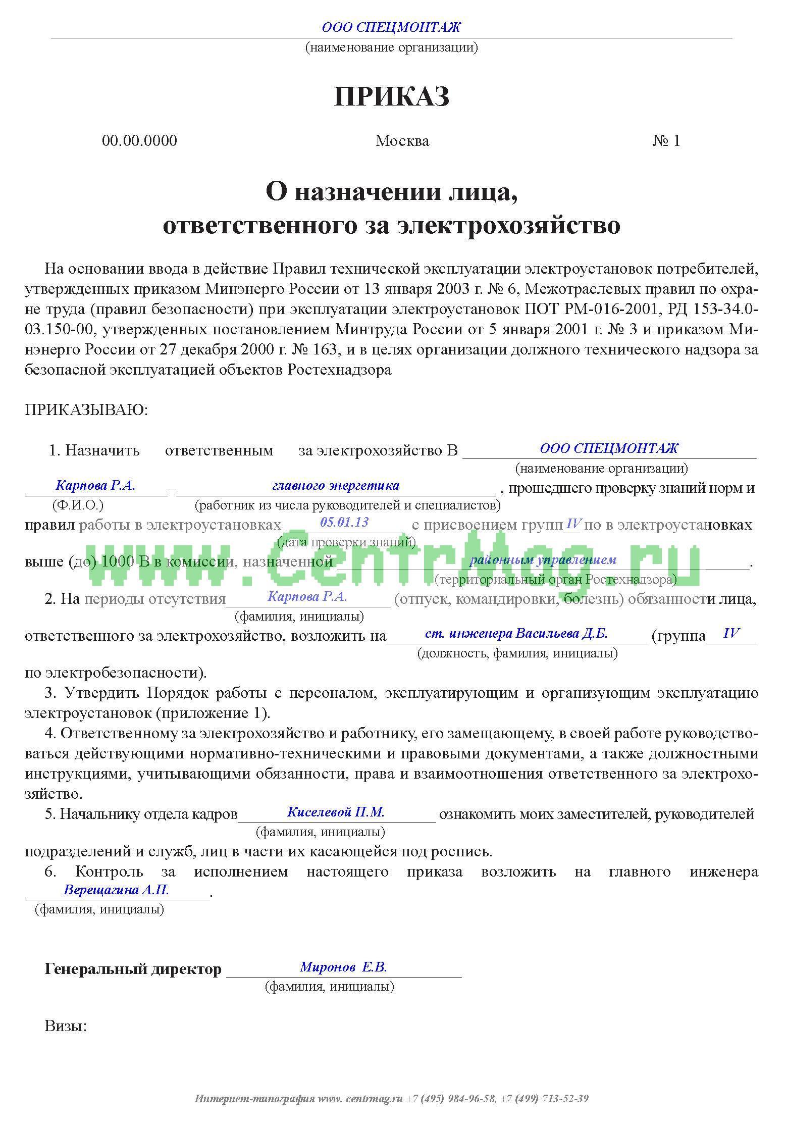 Правила приказ о назначении ответственных лиц по электробезопасности перечень технической документации по электробезопасности в доу