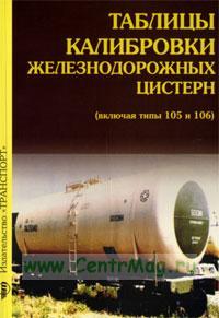 Таблицы калибровки железнодорожных цистерн (включая типы 105 и 106)