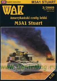 Модель-копия из бумаги танка М3А1 Stuart