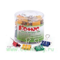 Зажимы для бумаг Комус 19 мм цветные (48 штук в упаковке)
