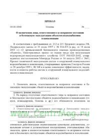Шаблон приказа о назначении ответственных лиц заказчика
