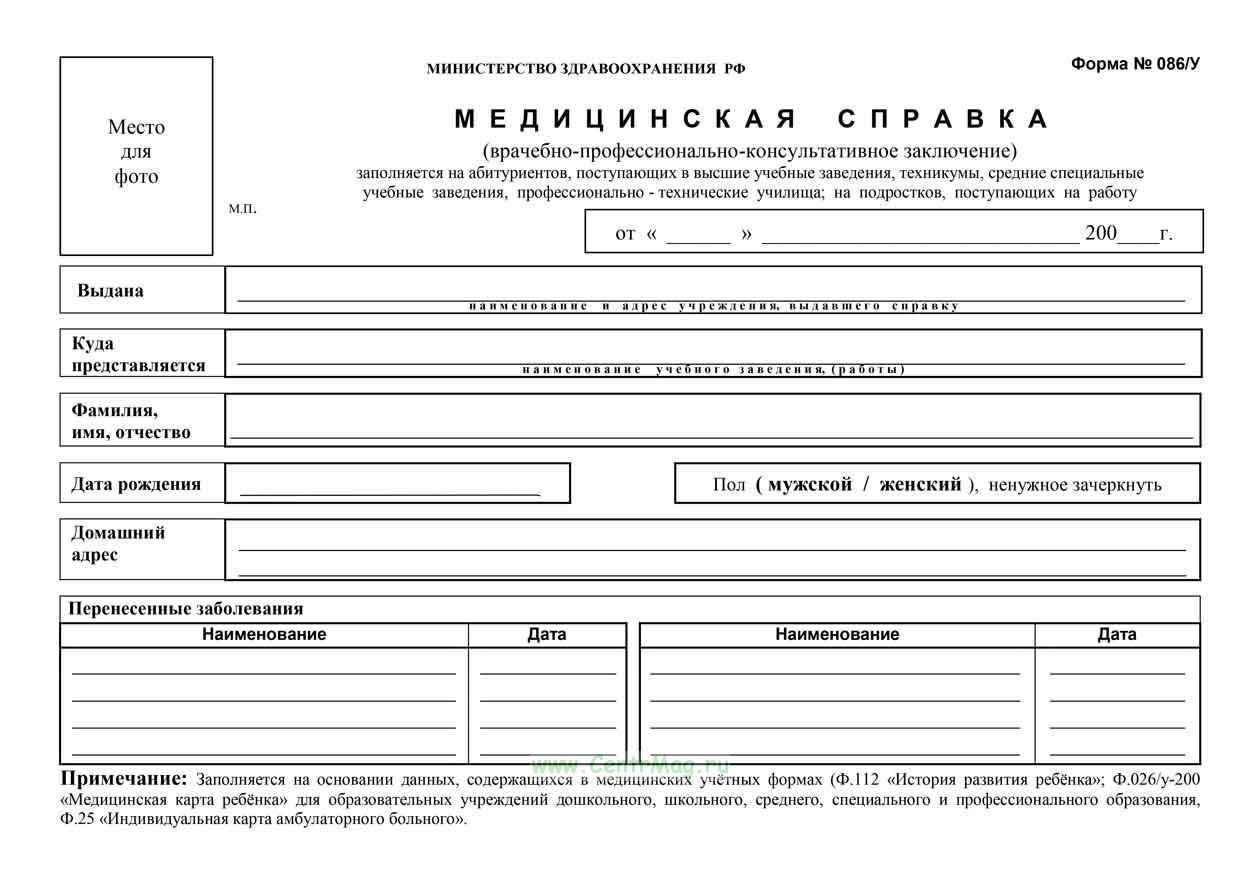 Медицинская справка (врачебное профессионально-консультативное заключение), 086/у