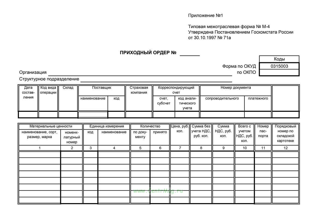Приходный ордер, М-4 (Формат А5, 100 шт)