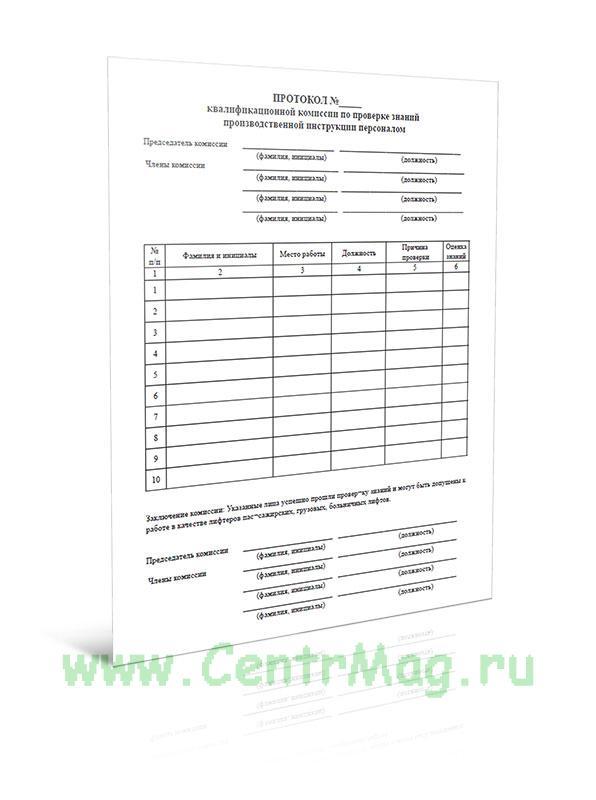 Протокол квалификационной комиссии по проверке знаний производственной инструкции персоналом