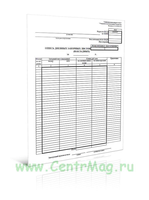 Опись дневных заборных листов (накладных) (Форма № ОП-7)