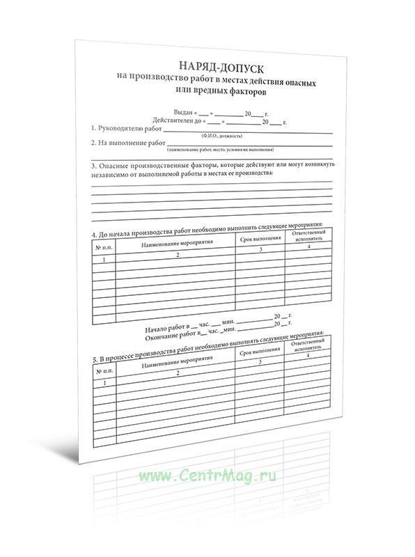 Наряд-допуск на производство работ в местах действия опасных или вредных факторов (100 шт.)