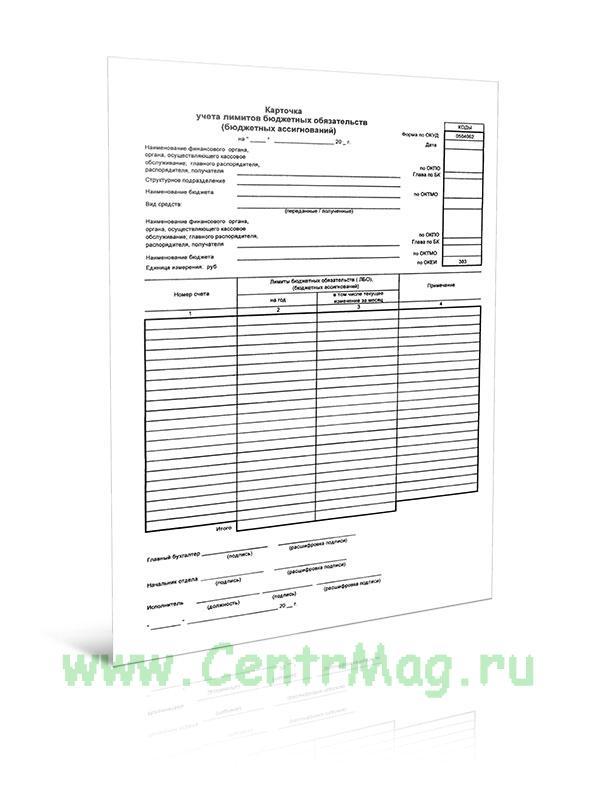 Карточка учета лимитов бюджетных обязательств (бюджетных ассигнований) (Форма по ОКУД 0504062)