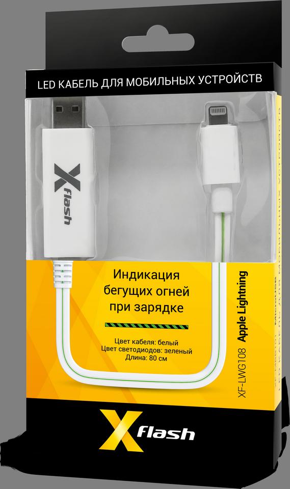 LED кабель XF-LWG108 для мобильных устройств Apple (зеленый)