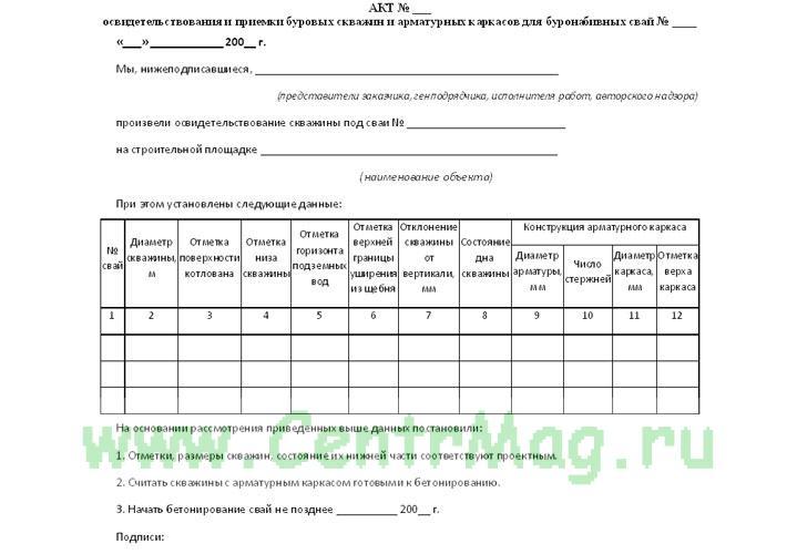 Акт освидетельствования и приемки буровых скважин и арматурных каркасов для буронабивных свай