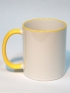 Кружка белая с желтой ручкой и ободком для термопереноса (сублимации)