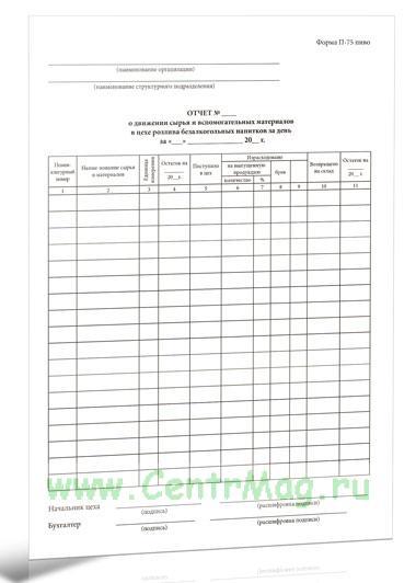 Отчет о движении сырья и вспомогательных материалов. Форма П-75 пиво