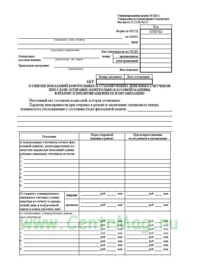 Акт о снятии показаний контрольных и суммирующих денежных счетчиков при сдаче (отправке) контрольно-кассовой машины в ремонт и при возвращении ее в организацию 100 шт. Форма № КМ-2