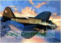 Модель-копия из бумаги самолета PZL P-37A
