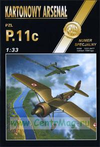 Модель-копия из бумаги самолета PZL P.11C