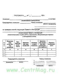 Протокол по проверке знаний персонала, обслуживающего паровые и водогрейные котлы