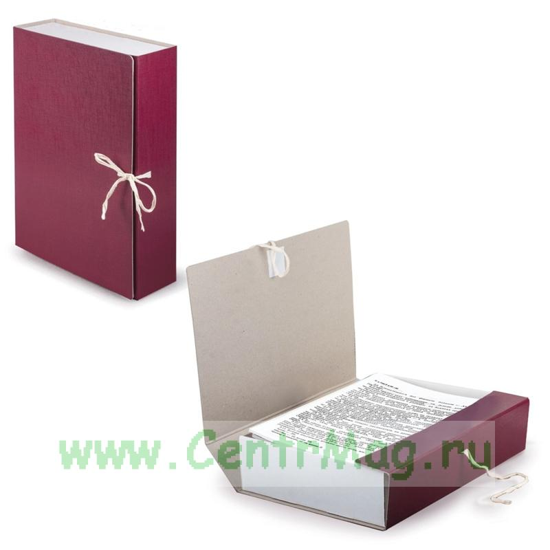 Короб архивный STAFF, 8 см, 2 х/б завязки, бордовый