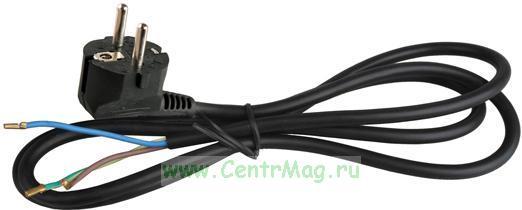 Volsten S-LR2, Черный сетевой кабель с угловой евровилкой, земля, 1, 5 м