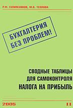 Сводные таблицы для самоконтроля налога на прибыль// Бухгалтерия без проблем - 2005. - № 2.