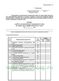 Отчет о работе уполномоченного (доверенного) лица по охране труда профессионального союза