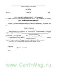 Приказ об осуществлении обязанностей по контролю за соблюдением в компании требований охраны труда специалистом по гражданско-правовому договору