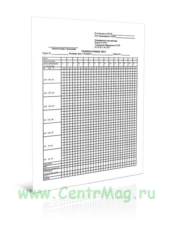 Температурный лист (Форма 004/у)