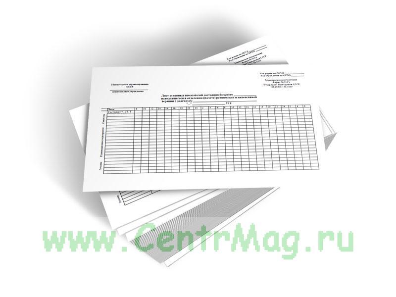 Лист основных показателей состояния больного, находившегося в отделении (палате) реанимации и интенсивной терапии (Форма 011/у)