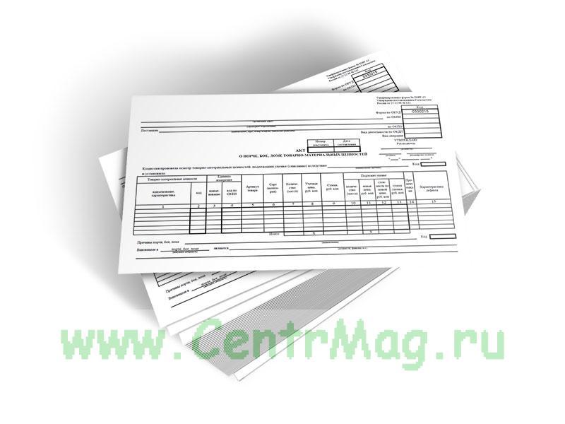 Акт о порче, бое, ломе товарно-материальных ценностей (Форма № ТОРГ-15)