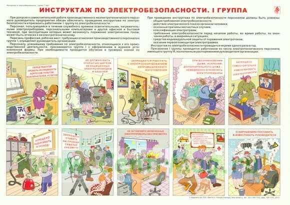 Плакат «Инструктаж по электробезопасности. I группа»