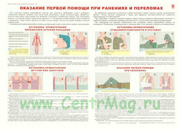 Плакат «Оказание первой помощи при ранениях и переломе»
