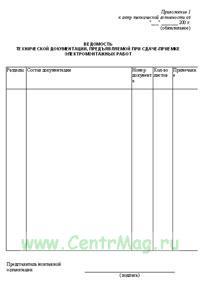 Ведомость технической документации, предъявляемой при сдаче - приемке электромонтажных работ