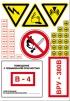"""Знаки """"Опасность поражения электрическим током"""", """"Осторожно. Аккумуляторные батареи"""", """"Внимание. Электромагнитное поле"""", """"Запрещается пользоваться открытым огнем и курить"""") и таблички (220 В; 380 В; 48 В; Заземлено; Помещение с повышенной опасностью В-4; ВРУ-380 В)-комплект знаков на 1 листе (35х50 см)"""