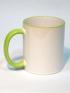 Кружка белая с салатовой ручкой и ободком для термопереноса (сублимации)