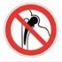 Запрещается работа (присутствие) людей, имеющих металлические импланты. Знак