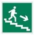 Направление к эвакуационному выходу по лестнице вниз (правый). Знак E13