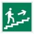 Направление к эвакуационному выходу по лестнице вверх. Знак.