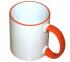 Кружка белая с оранжевой ручкой и ободком для термопереноса (сублимации)