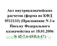 Акт внутриказначейских расчетов (форма по КФД 0512133) (Приложение N 3 к Письму Федерального казначейства от 18.01.2006 N 42-7.1-15/5.1-17)
