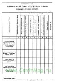 Ведомость сметной стоимости строительства объектов, входящих в пусковой комплекс № 6