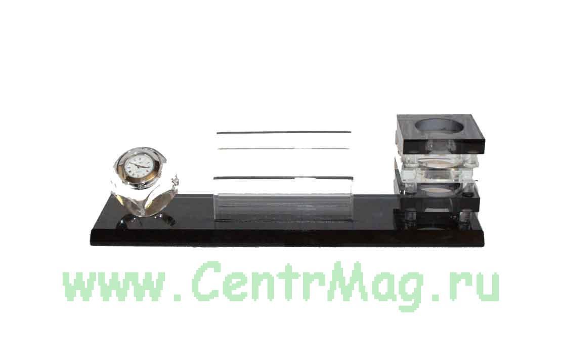 Настольный письменный набор: подставки под ручки, бумаги для записей, часы 25*6см